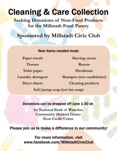Millstadt Civic Club Holding Non-Food Item Drive